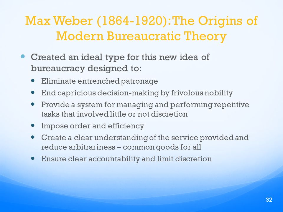 administrative discretion max weber Max weber reading 2 to all kinds of administrative tasks for weber order of the public service at least of the salary levels discretion.