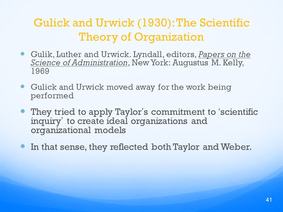luther gullick s theory on managements Posdcorb explained posdcorb is an acronym widely used in the field of management and public administration that reflects the classic view of organizational theory it appeared most prominently in a 1937 paper by luther gulick (in a set edited by himself and lyndall urwick).