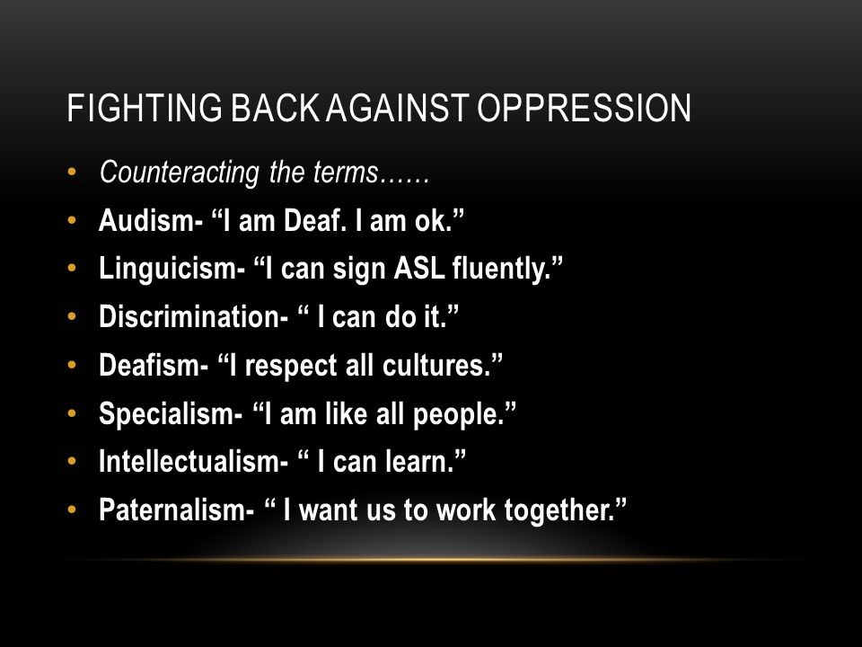 How can we end oppression?