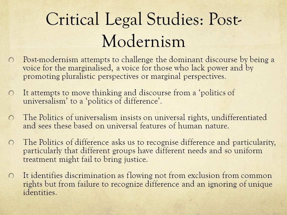 an overview of critical legal studies Critical legal studies applies this same method of study to the law rather than culture it holds to the idea that the theory and practice of law and jurisprudence is just as political as partisan politics, and that the ruling of a judge is just as politically charged as the vote of a legislator.
