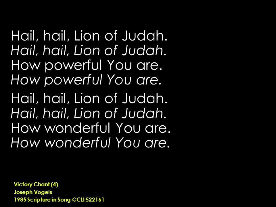 Hail, hail, Lion of Judah. How powerful You are.