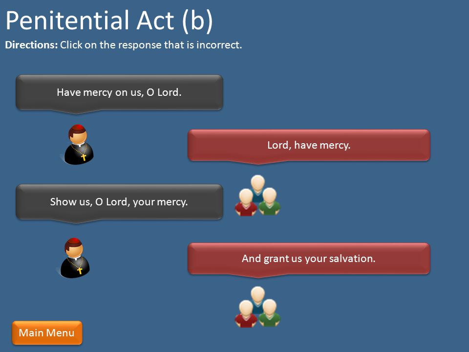 Penitential Act (b) Directions: Click on the response that is incorrect. Have mercy on us, O Lord.
