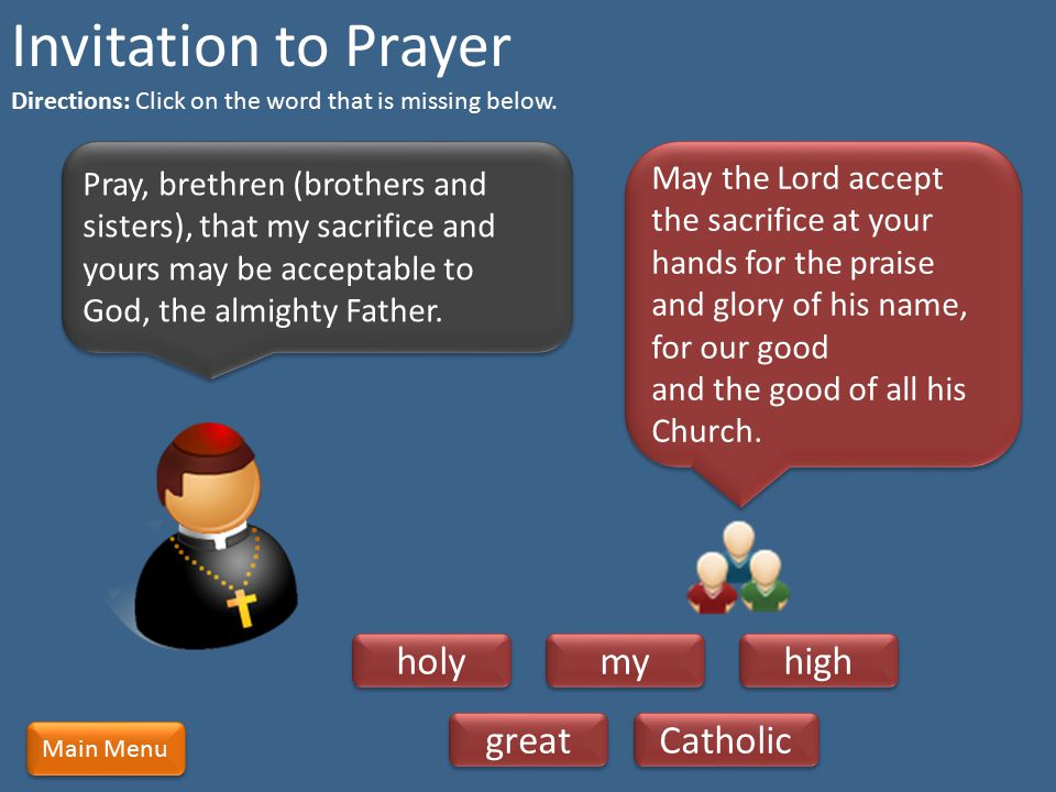 Invitation to Prayer holy my high great Catholic