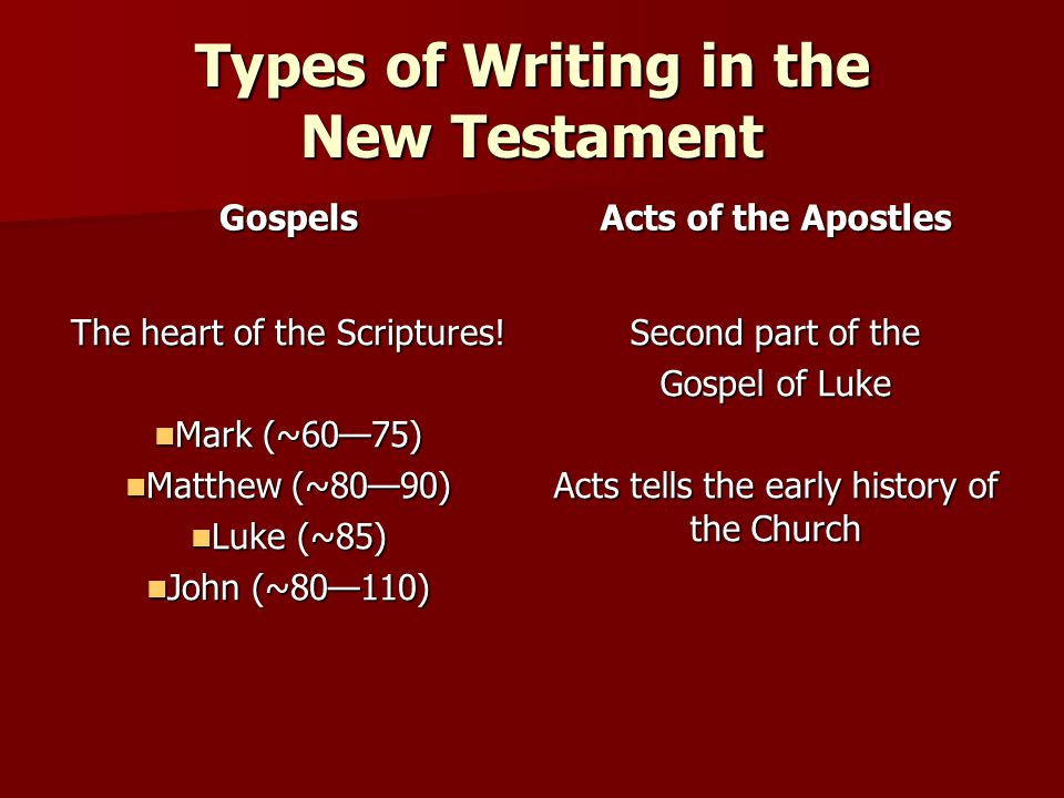 Types of Writing in the New Testament