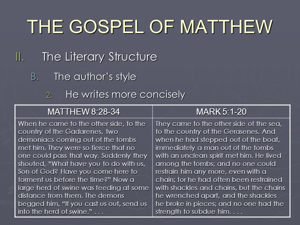 Literary analysis of the gospel of matthew