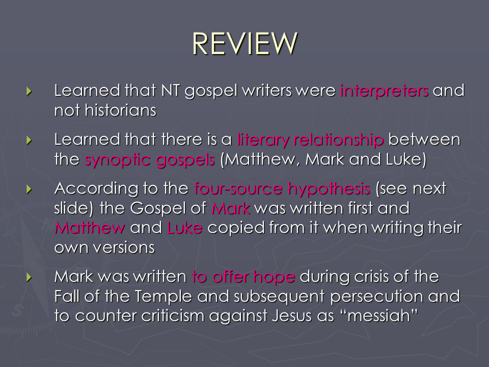 a review of the synoptic gospels of mark matthew and luke This synoptic gospels primer is designed for students in college level courses on the gospels or anyone else interested in the synoptic problem parallel texts in matthew, mark & luke other than those analyzed in this sample synopsis the gospels and the synoptic problem.