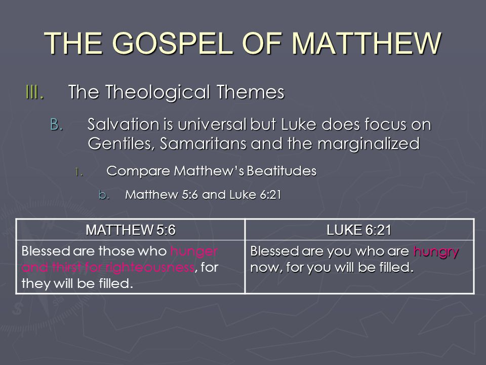 The themes of the gospel of luke
