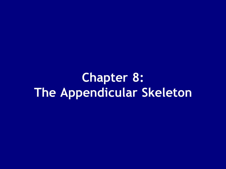 Chapter 8: The Appendicular Skeleton