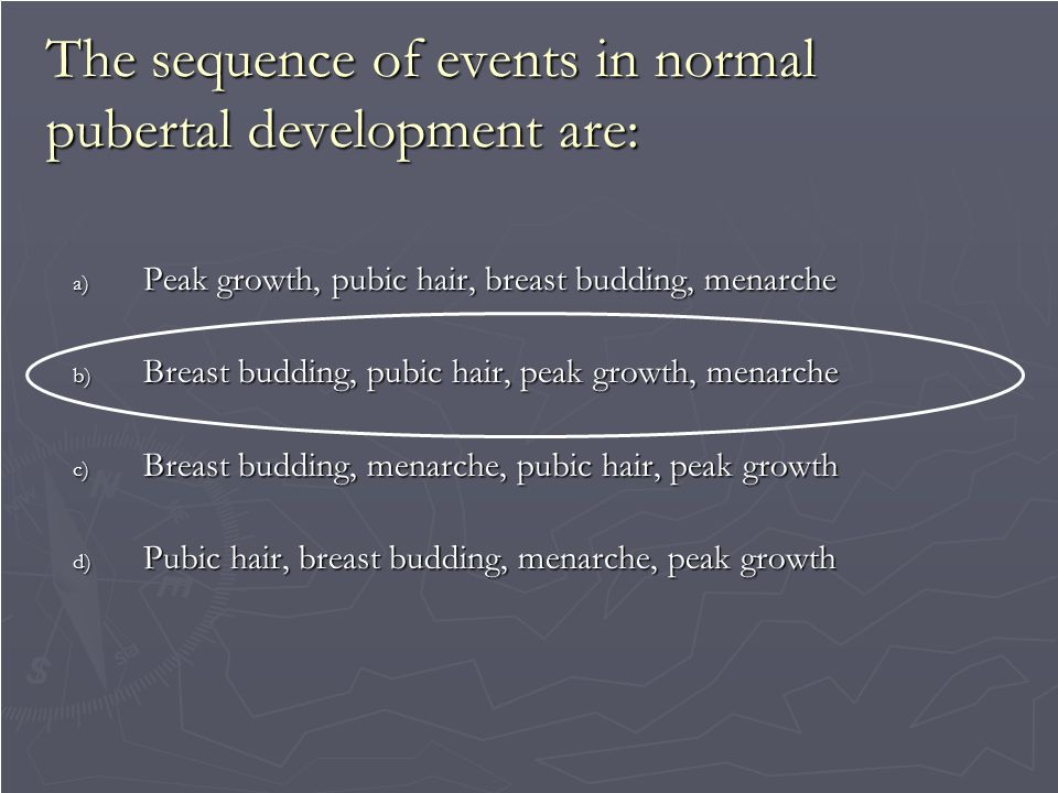 variations of normal pubertal development Normal pubertal physiology in being familiar with the spectrum that encompasses normal development is critical to variations in pattern of pubertal changes.