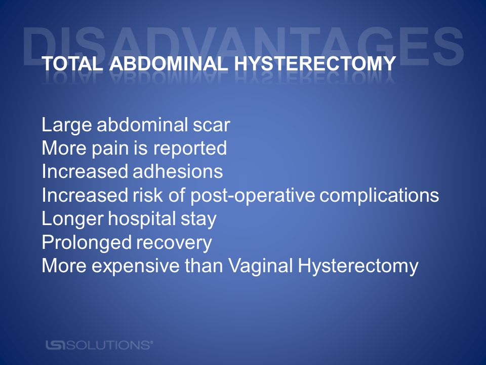 Total abdominal hysterectomy postop complications