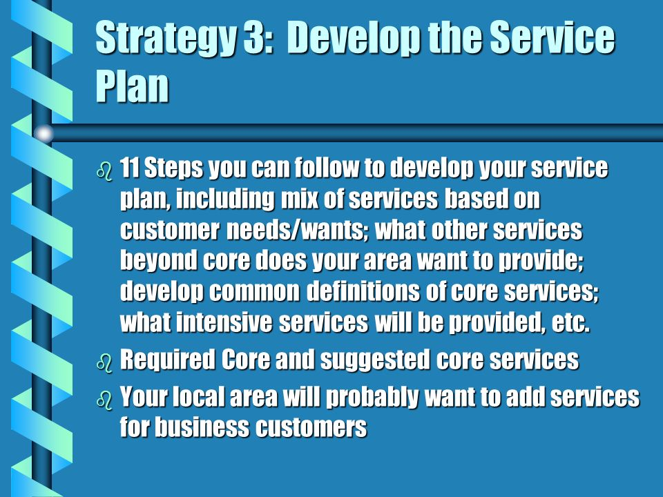 Strategy 3: Develop the Service Plan