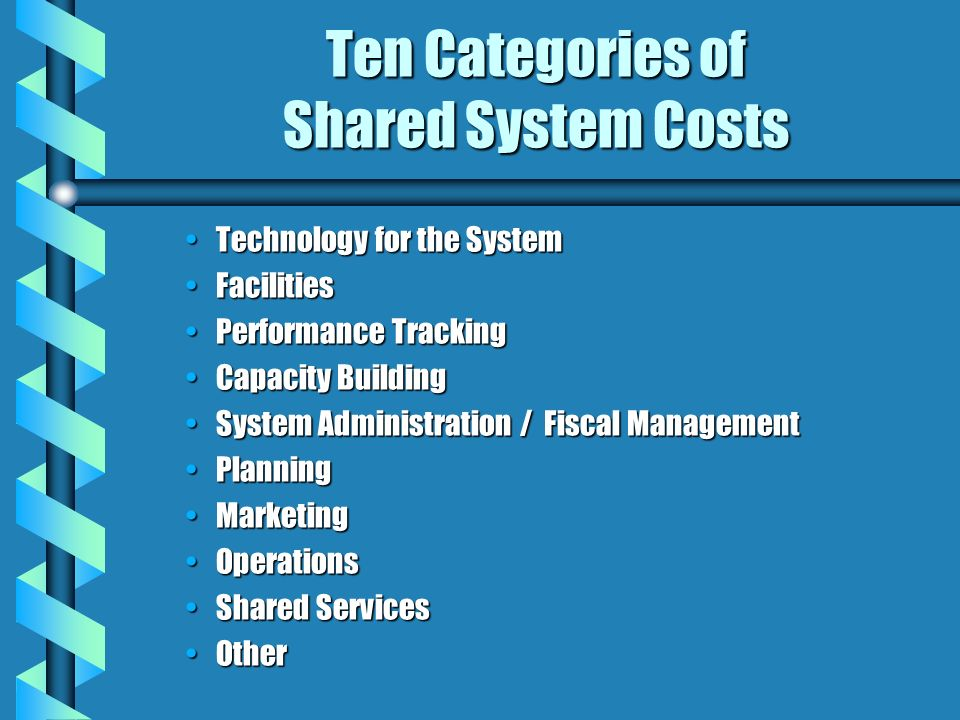 Ten Categories of Shared System Costs