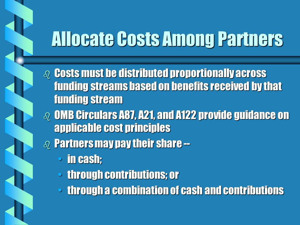 Allocate Costs Among Partners