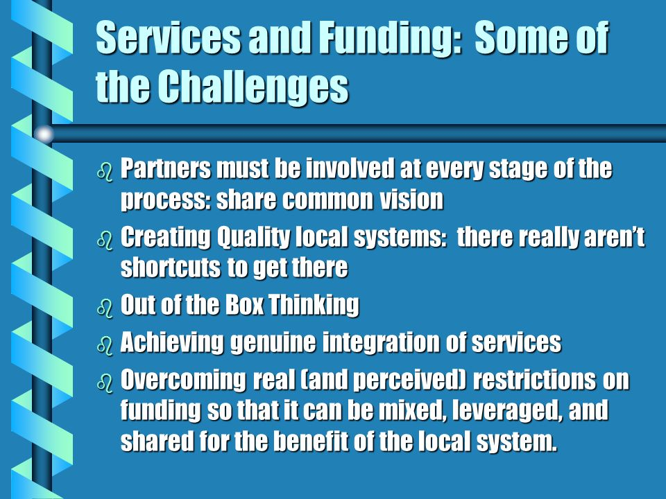 Services and Funding: Some of the Challenges