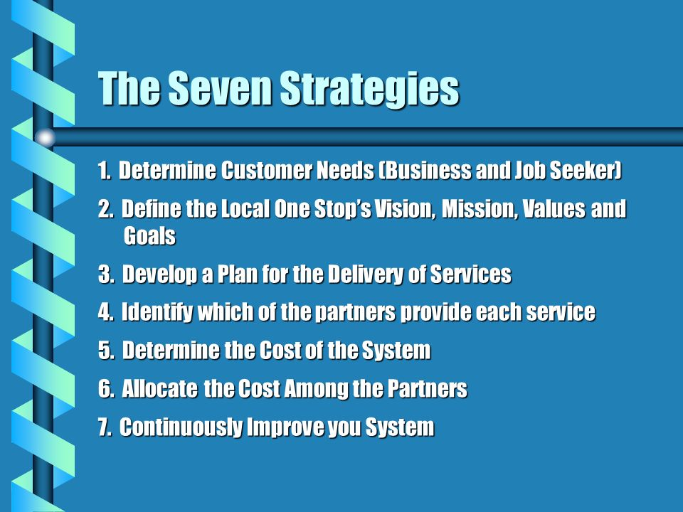 The Seven Strategies1. Determine Customer Needs (Business and Job Seeker) 2. Define the Local One Stop's Vision, Mission, Values and Goals.
