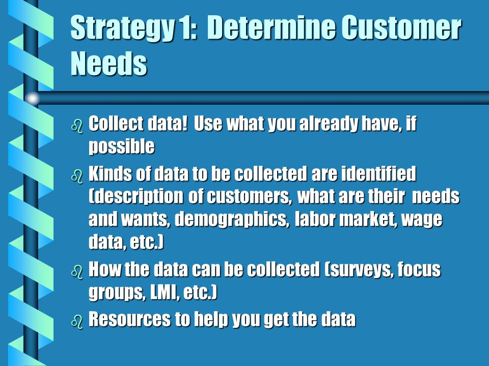Strategy 1: Determine Customer Needs