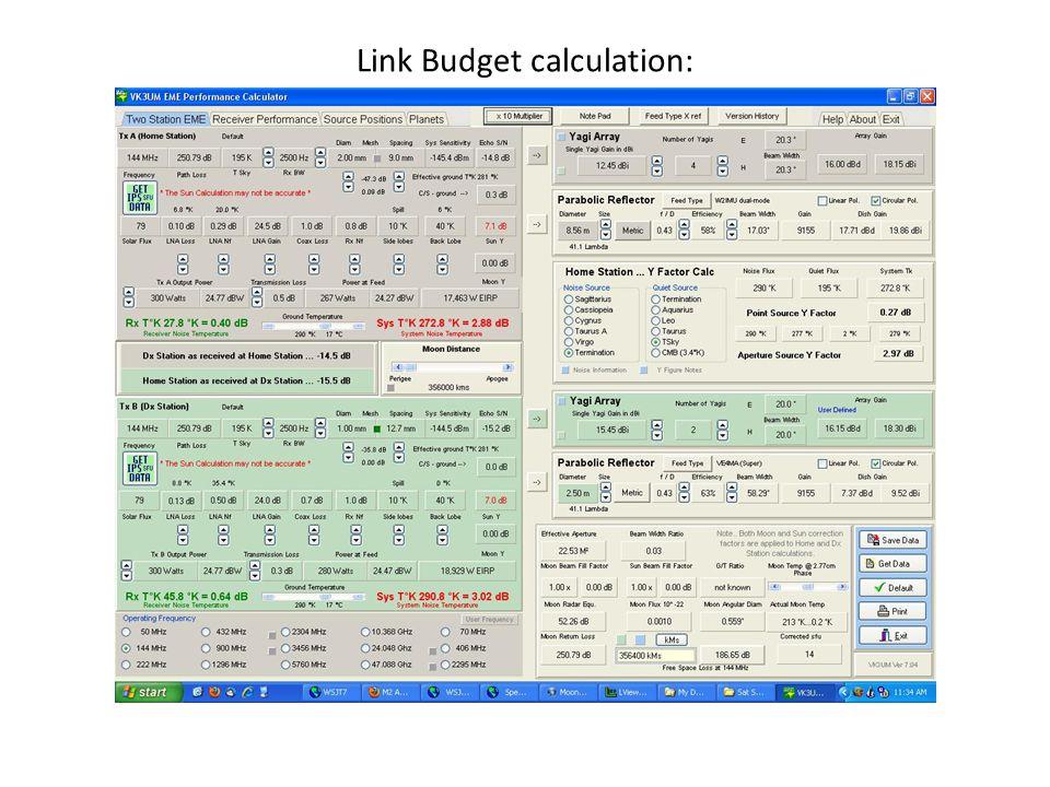 Link Budget calculation: