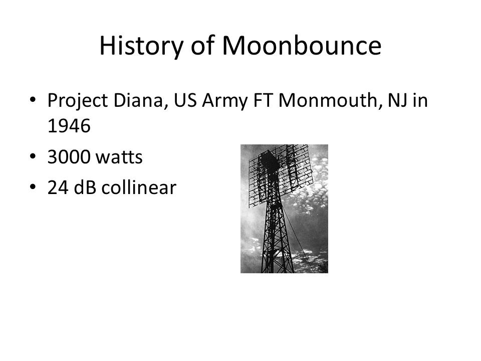 History of Moonbounce Project Diana, US Army FT Monmouth, NJ in 1946