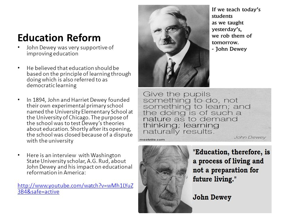 john dewey and his in influence John dewey 1859-1952  all went to the public schools and john and his oldest brother,  mead with an important influence on his later thinking.