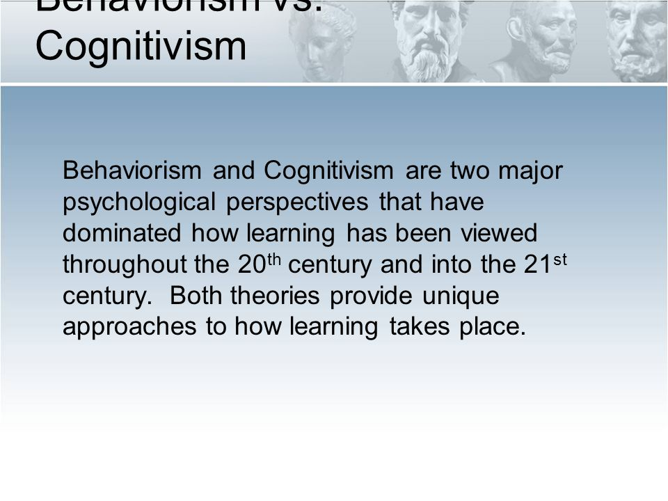 behaviorism theory of psychology Social learning theory combines cognitive learning theory (which posits that learning is influenced by psychological factors) and behavioral learning theory (which assumes that learning is based on responses to environmental stimuli.
