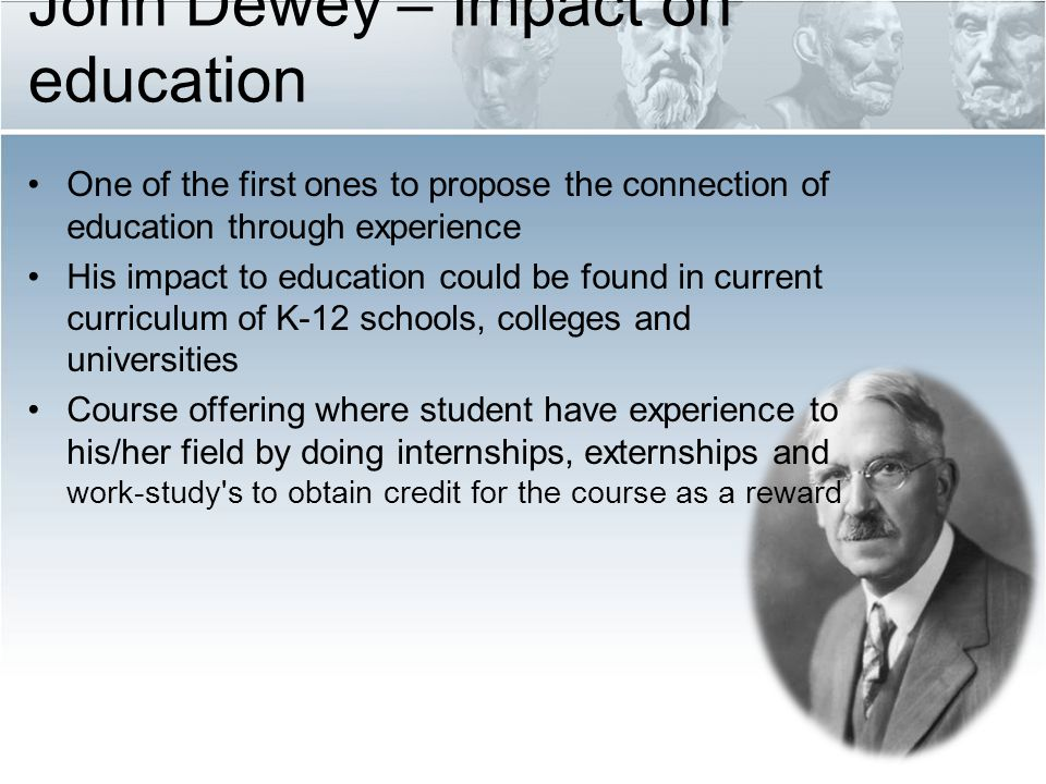 the work of john dewey in the field of progressive education John dewey was born on october 20, 1859, the third of four sons born to  the  formal teaching in philosophy at the university of vermont was  education ( 1916), perhaps his most important work in the field.