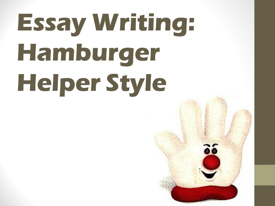 essay hamburger style Essay writing: hamburger helper style the essay: hamburger style appetizing introduction introductions your introduction should be a paragraph.