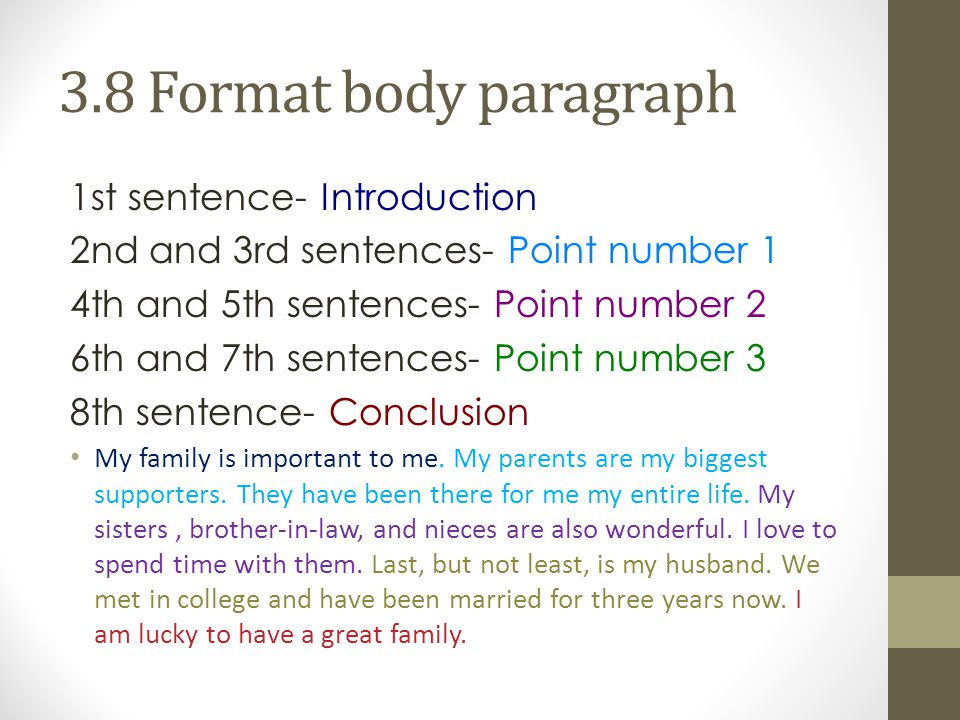 3.8 Format body paragraph 1st sentence- Introduction