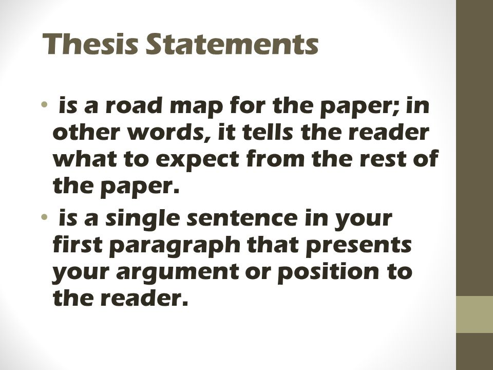 Thesis Statements is a road map for the paper; in other words, it tells the reader what to expect from the rest of the paper.