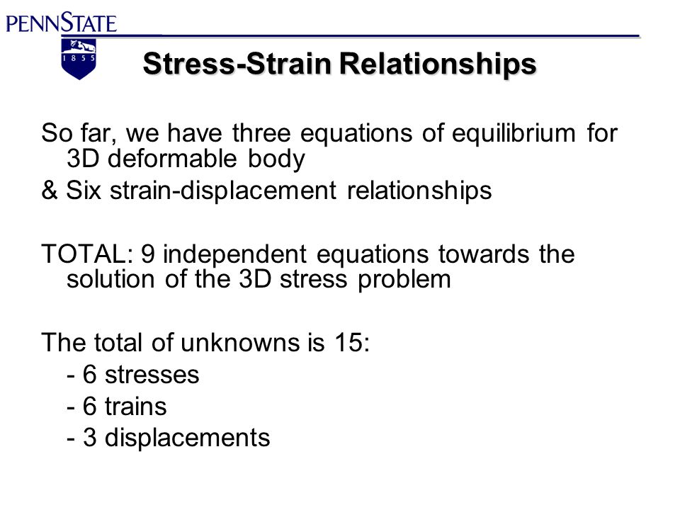stress and strain relationship in 3d