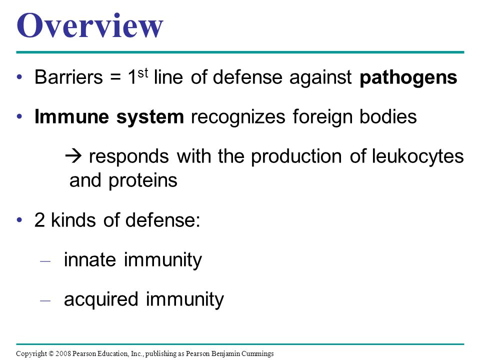 Overview Barriers = 1st line of defense against pathogens