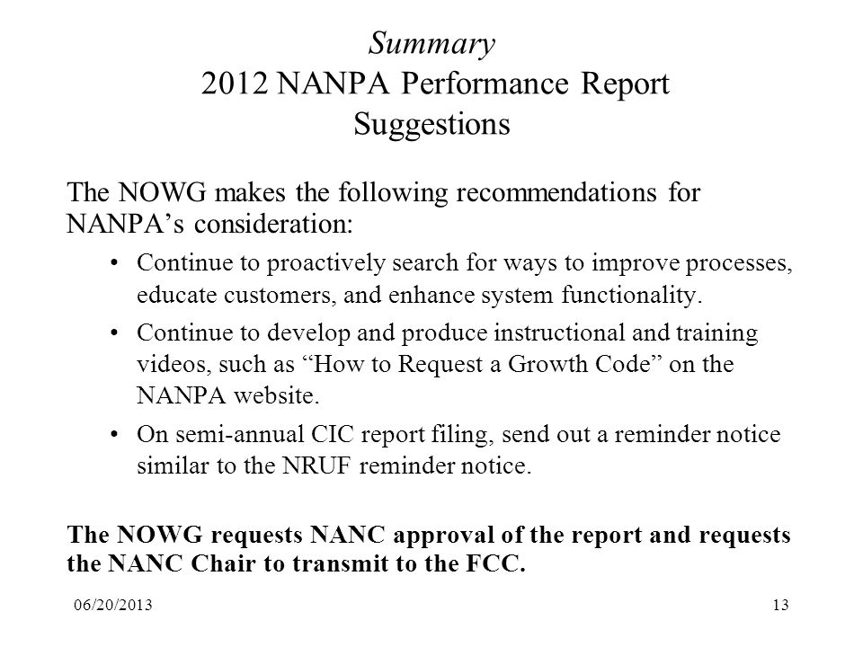 Summary 2012 NANPA Performance Report Suggestions