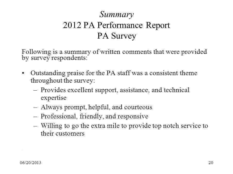 Summary 2012 PA Performance Report PA Survey