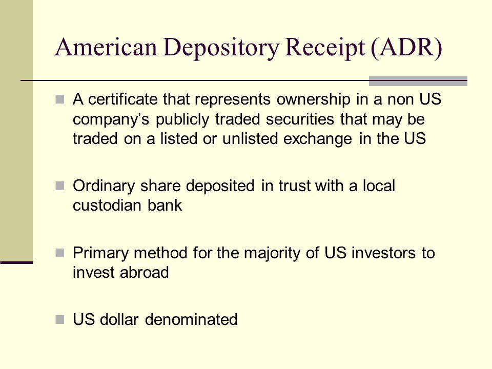 american depository receipt global depository receipts