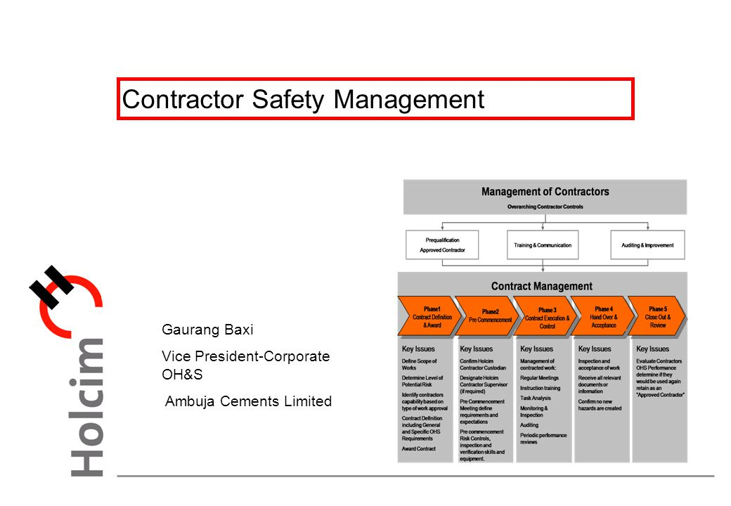 Ambuja Cements Limited : Contractor safety management ppt download