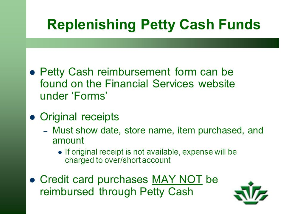 Replenishing Petty Cash Funds