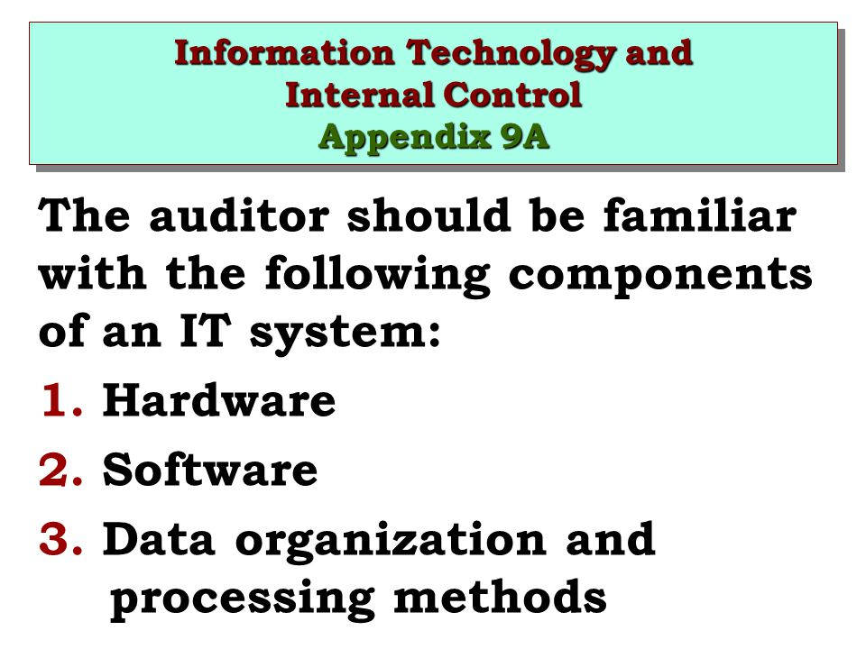 Information Technology and Internal Control Appendix 9A