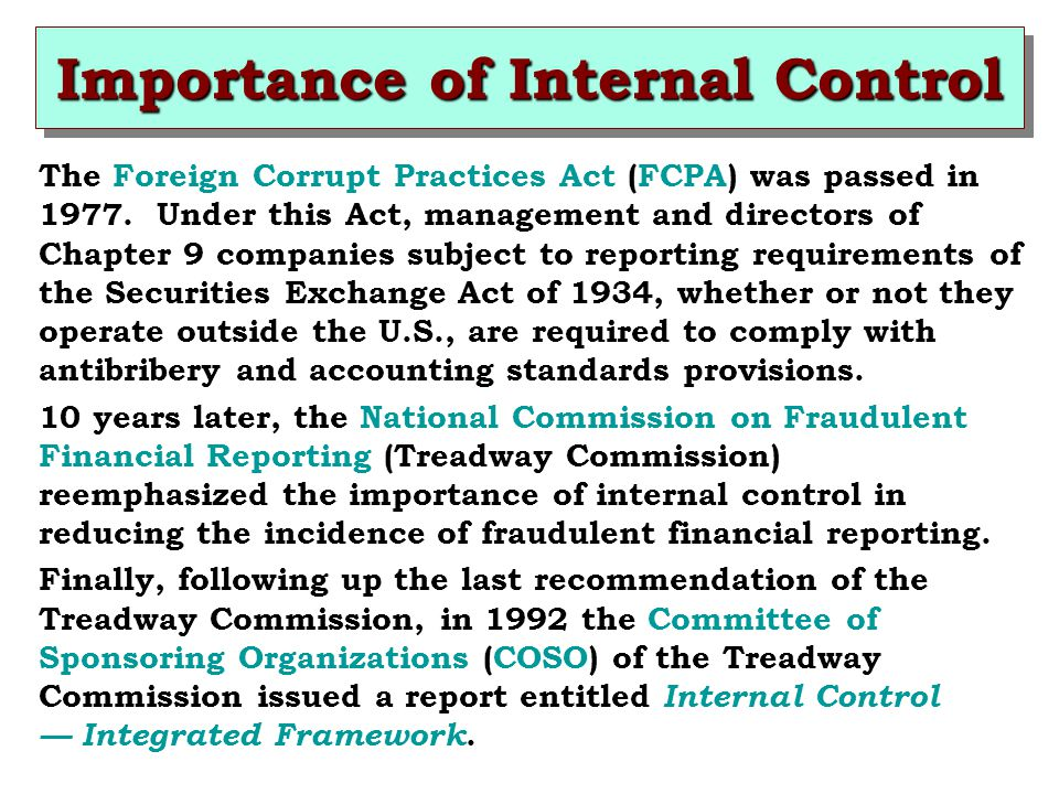 Importance of Internal Control