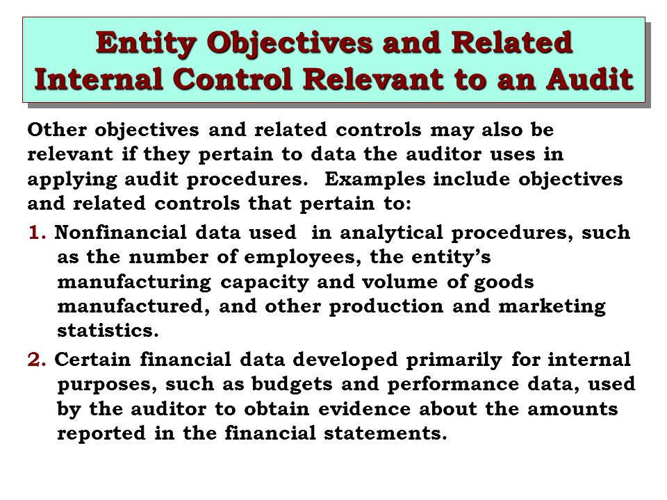 Entity Objectives and Related Internal Control Relevant to an Audit