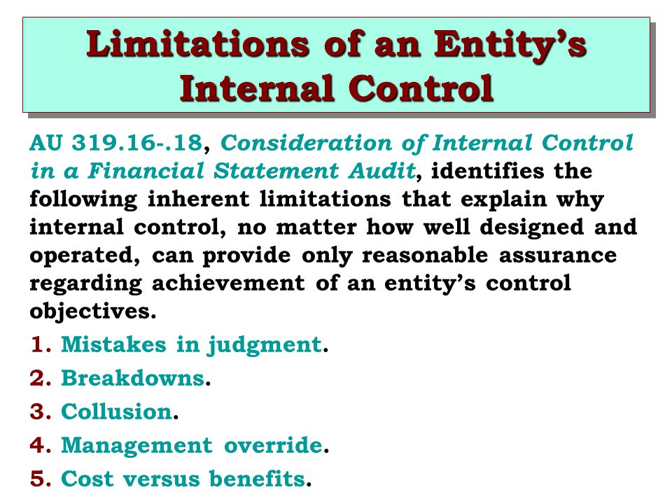 Limitations of an Entity's Internal Control
