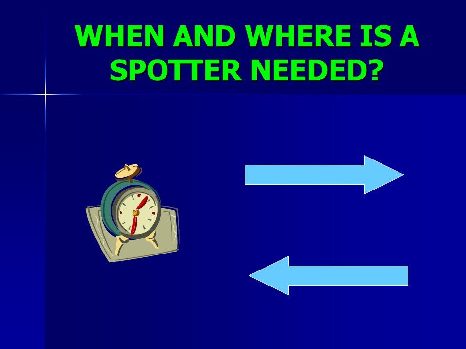 WHEN AND WHERE IS A SPOTTER NEEDED