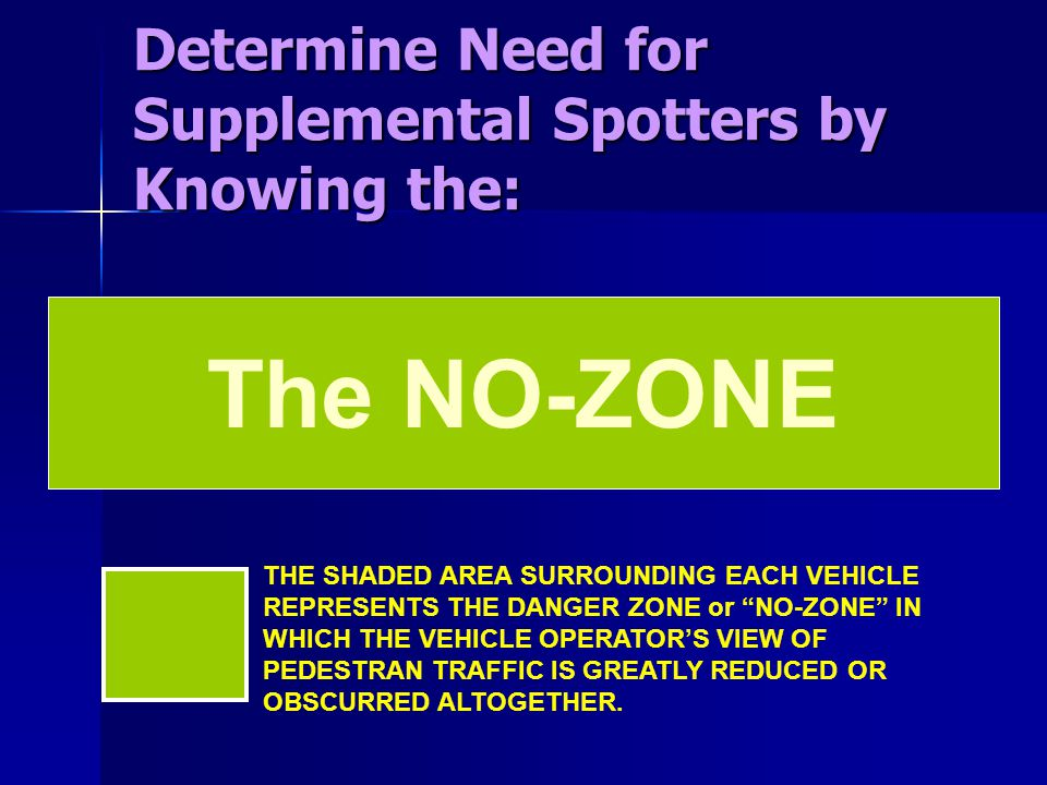 The NO-ZONE Determine Need for Supplemental Spotters by Knowing the: