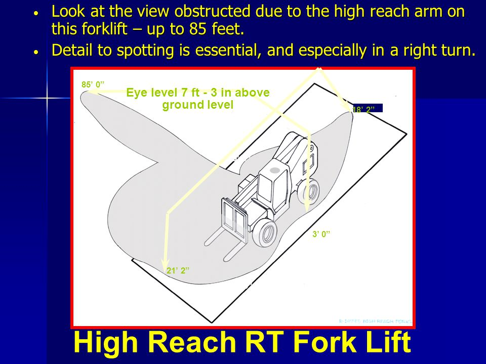 Look at the view obstructed due to the high reach arm on this forklift – up to 85 feet.