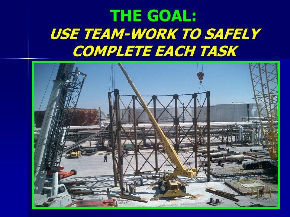 THE GOAL: USE TEAM-WORK TO SAFELY COMPLETE EACH TASK