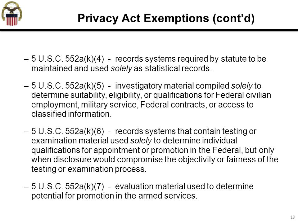 examination of the privacy act of Privacy impact assessment guide introduction the e-government act of  2002, section 208, establishes the requirement for agencies to conduct.