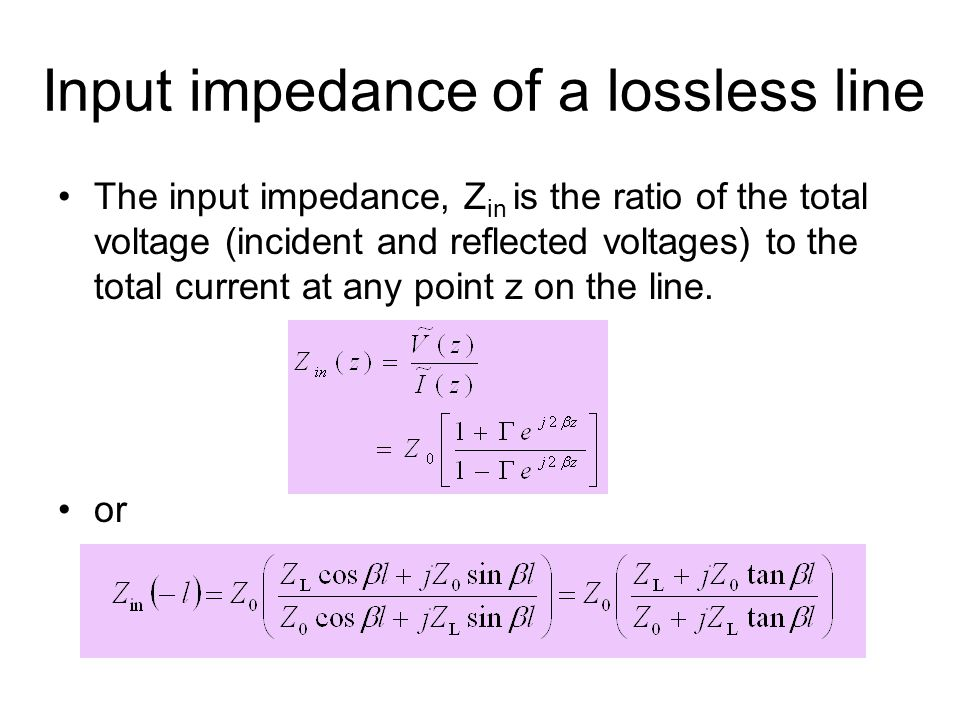 Input impedance of a lossless line