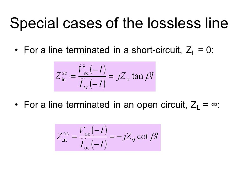 Special cases of the lossless line