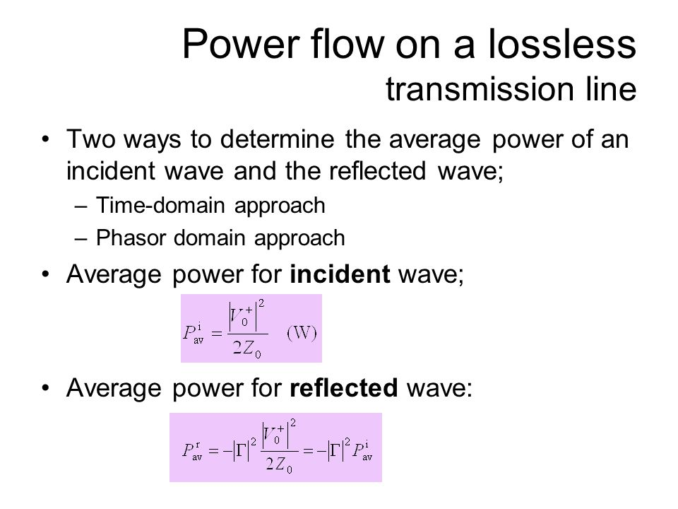 Power flow on a lossless transmission line