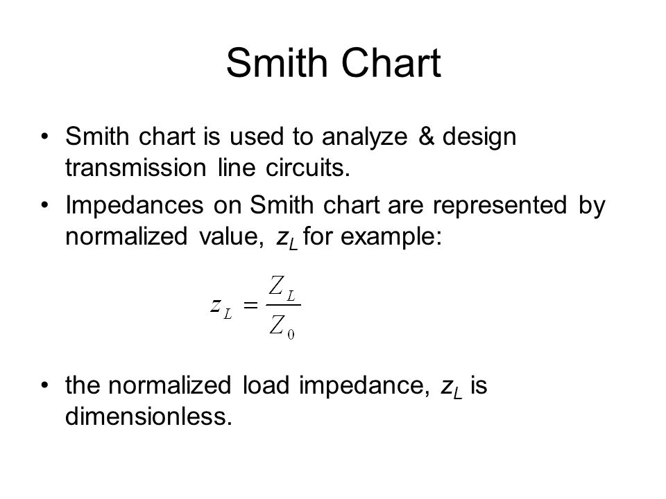 Smith Chart Smith chart is used to analyze & design transmission line circuits.