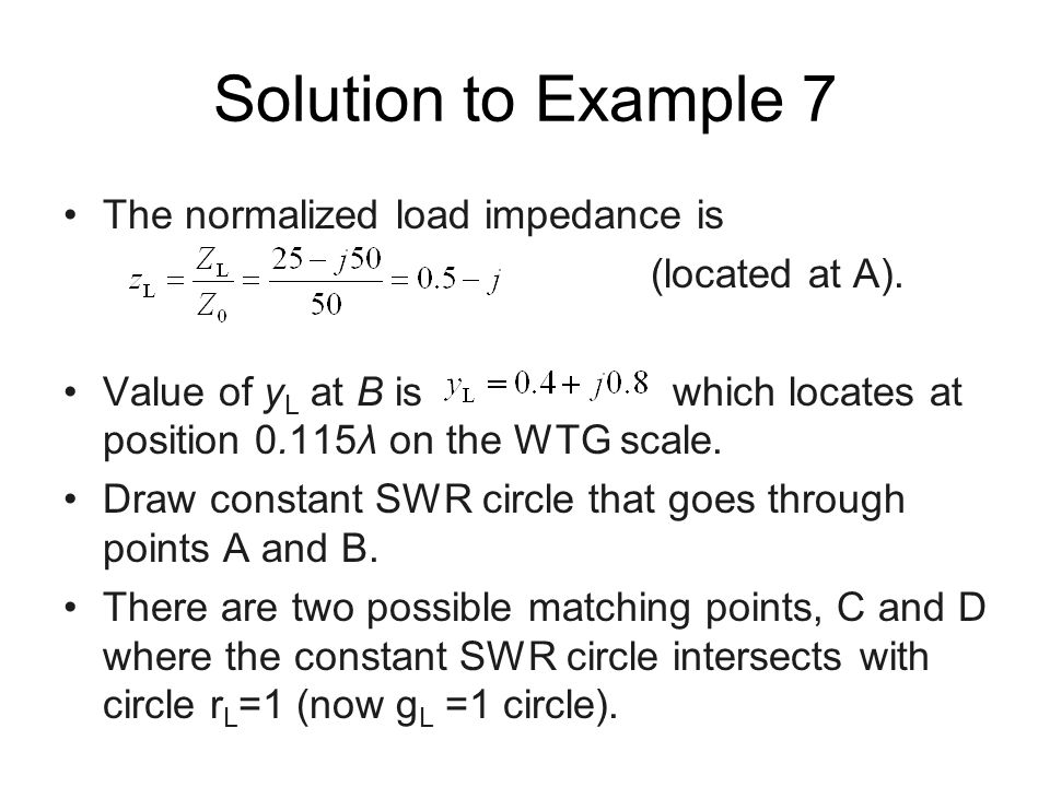 Solution to Example 7 The normalized load impedance is (located at A).