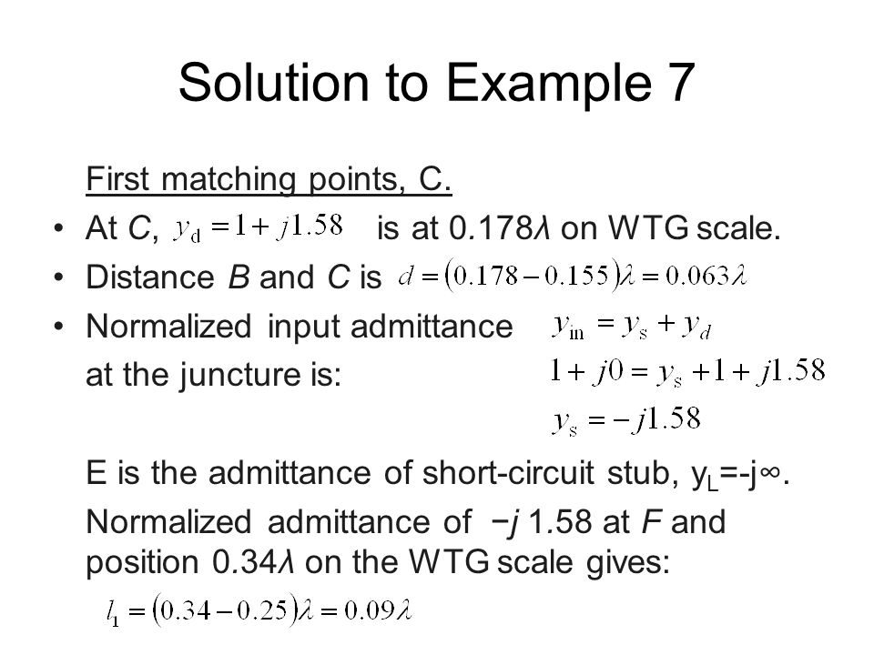 Solution to Example 7 First matching points, C.